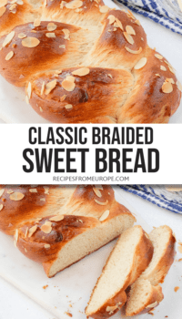 """photo collage of brown braided bread with sliced almonds on top on white platter with text overlay saying """"classic braided sweet bread"""""""
