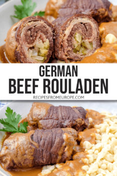 """Photo collage of rolled beef in bowl with gravy and egg noodles plus text overlay saying """"German beef rouladen"""""""