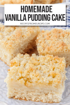 """three slices of cake with pudding layer in middle and streusel on top on purple plate plus text overlay saying """"homemade vanilla pudding cake"""""""