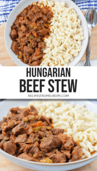 """Photo collage of beef stew in bowl with egg noodles and text overlay saying """"Hungarian beef stew"""""""