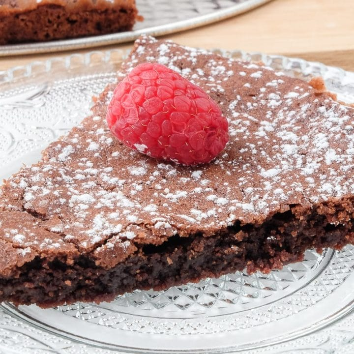 piece of swedish chocolate cake on clear plate