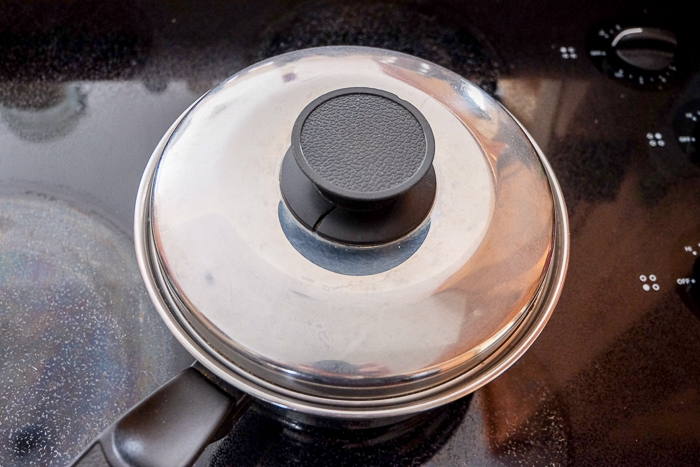 silver pot on stove top with lid on