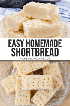 """Photo collage of pieces of shortbread stacked on clear plate from side and from top with text overlay saying """"easy homemade shortbread"""""""