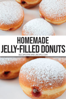 """photo collage of deep-fried balls of dough with jelly in the middle and powdered sugar on top plus text overlay saying """"homemade jelly-filled donuts"""""""