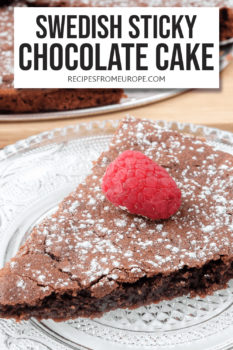 """slice of chocolate cake with icing sugar and raspberry on top on clear plate with text overlay saying """"Swedish sticky chocolate cake"""""""